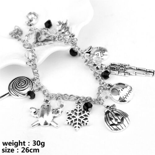 The Nightmare Before Christmas Women Mens Gothic Charm Pendant Bracelet Gift