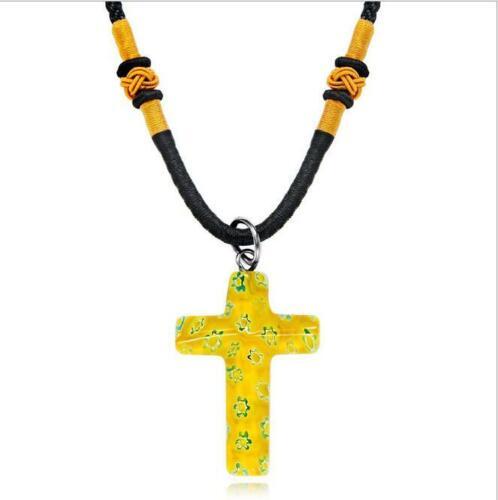 Trendy Frauen Glasblume Kreuz Anhänger Halskette Necklace Schmuck Geschenk