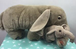 Animal-Planet-Plush-Elephant-Mommy-Wrinkle-And-Baby-Spinkle-2000-Stuffed-Toy