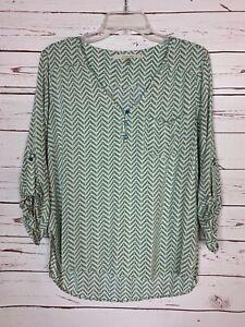 41-Hawthorn-Stitch-Fix-Women-039-s-M-Medium-Turquoise-Long-Sleeve-Top-Blouse-Shirt