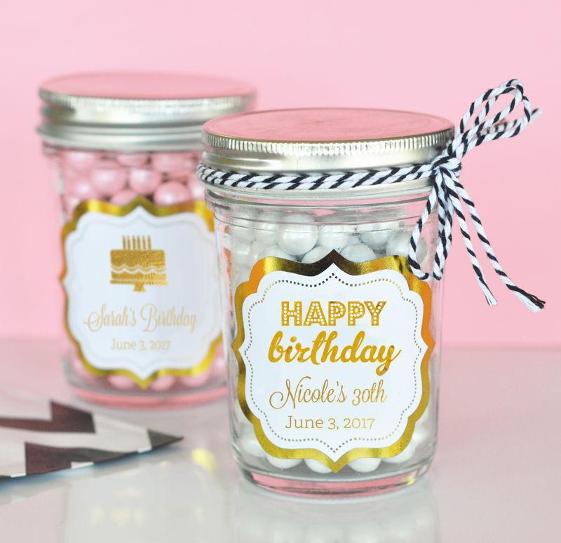 24 Personalized Metallic Foil Birthday Mini Mason Jars Birthday Party Favors