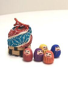 5-034-Japanese-Vintage-PAPER-MACHE-Daruma-Doll-Foke-Art-Unglazed-Daruma-Doll-Boxed