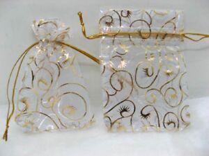 100-White-Flower-Drawstring-Jewelry-Gift-Pouches-11x8cm