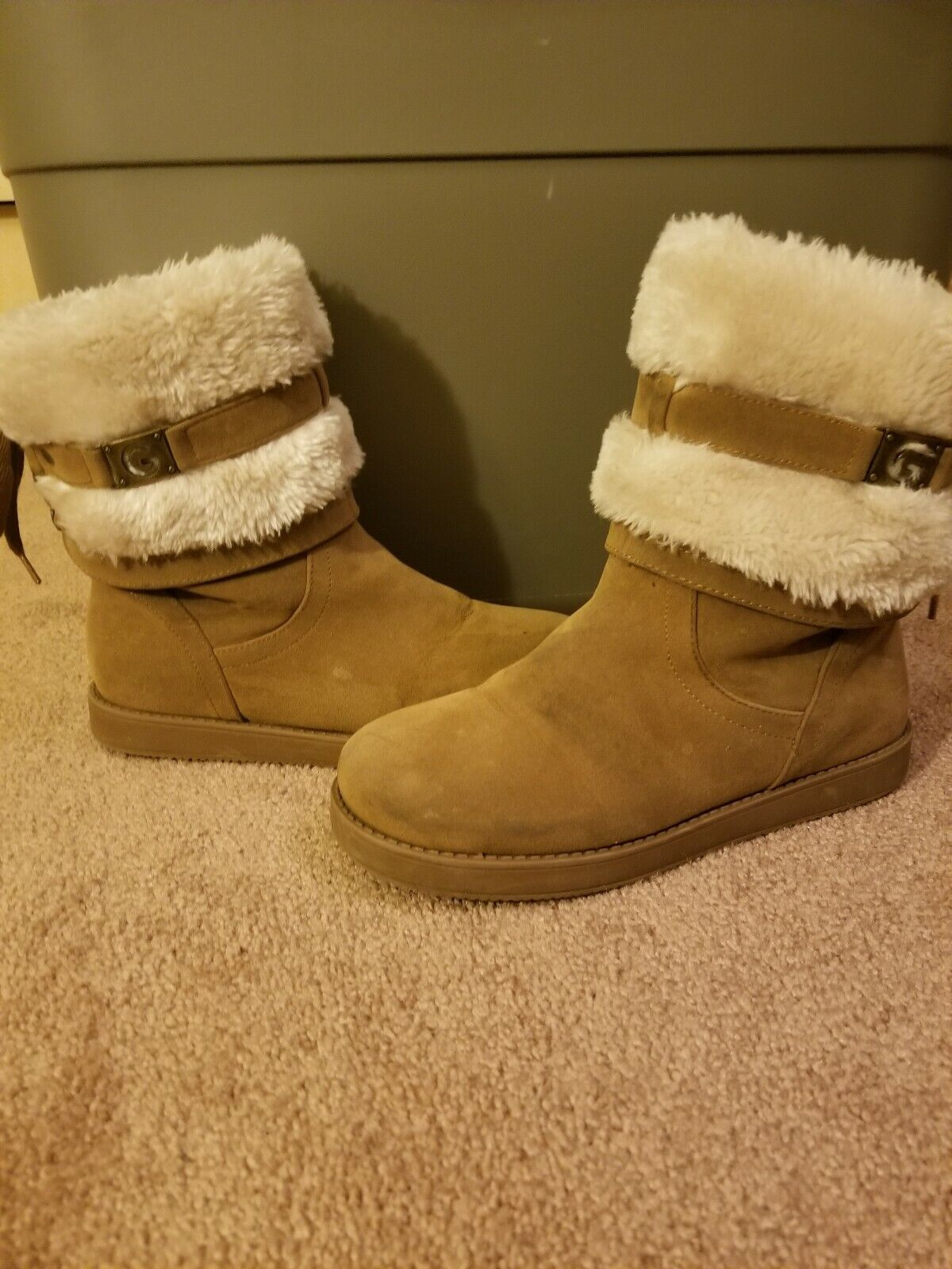 Audy Faux-Shearling Suede Tie Boots by Guess
