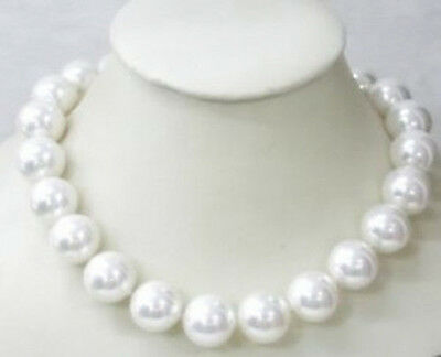 Pretty 12MM White Southsea shell pearl necklace AAA