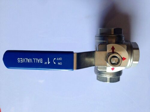 """1 PCS 304 Stainless Steel Three-way Ball Valve Switch Female DN25 T-Port 1/"""""""