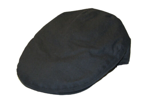 Quality Men/'s Gent/'s Traditional Fully Lined Wax Cotton Flat Cap in Navy Blue