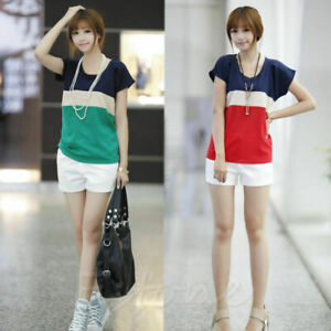 New-Women-Casual-Chiffon-Colors-Collision-Loose-Short-Sleeve-T-Shirt-Tops-Blouse
