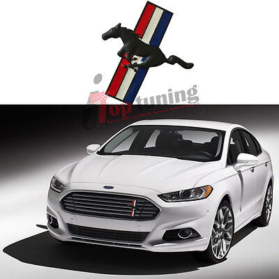Black Grille Running Pony Horse Tri-Bar Emblems Badge Logo for Mustang GT Fusion