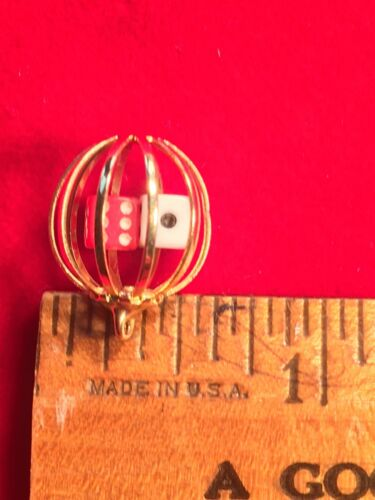 VINTAGE MINIATURE  RED /& WHITE DICE  with Gold Filled Cage.