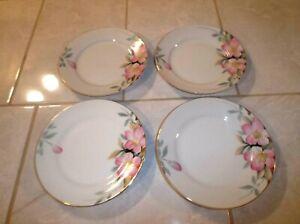 Lot-of-Four-Noritake-AZALEA-Bread-Plates-19322-Red-M-Mark