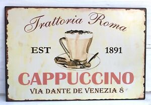 Nostalgie-Blechschild-Cappuccino-Trattoria-Roma-Schild-Blech-Shabby-beige