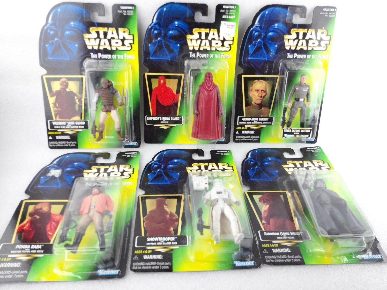 (6) Star Wars The Power of the Force Action Figures Col 3 Snowtrooper Ponda Dmgd