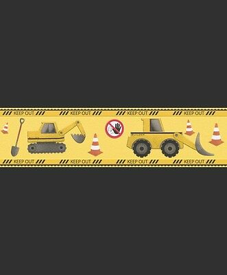 YELLOW DIGGERS TRUCKS KIDS BOYS CHILDRENS QUALITY WALLPAPER BORDER RASCH 465501