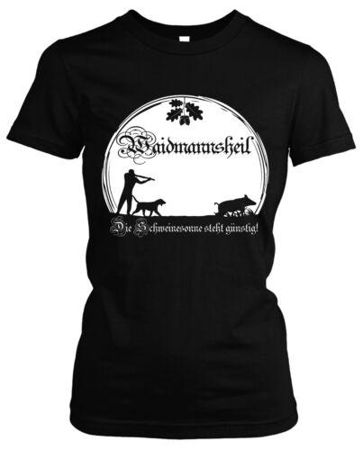 Waidmannsheil Damen Girlie T-ShirtJagd Jäger Wildschwein Wild FörsterM1