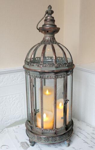 Laterne Windlicht Kuppeldach Kupfer Shabby Landhaus Vintage Metall Gr.L 65cm
