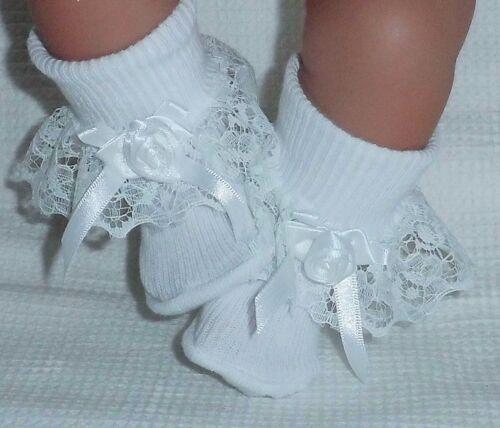 "Large Dolls 1968 Dolly Togs White Frilly Socks Newborn Baby 20-24/"" Reborn Doll"