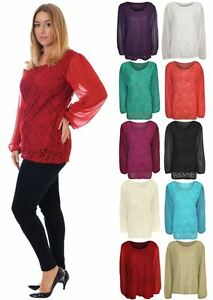 546b9ec6dd89d Womens Plus Size Lace Lined Chiffon Long Sleeve Floral Sheer Tunic ...