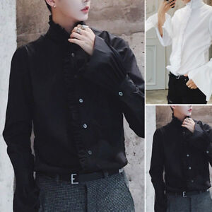 Premium-Men-Gothic-Shirt-Top-Victorian-Ruffle-Collar-Punk-Puff-Sleeve-Vintage