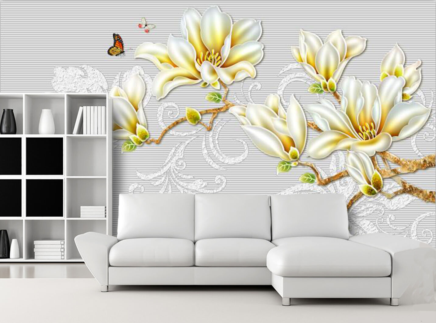 3D Pretty Flower Butterfly 316 Wall Paper Wall Print Decal Wall AJ WALLPAPER CA