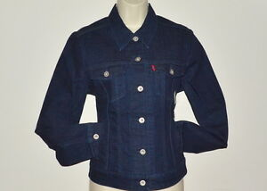 Levis BLUE DENIM JEAN JACKET WOMEN COTTON DARK WASH LONG SLEEVES