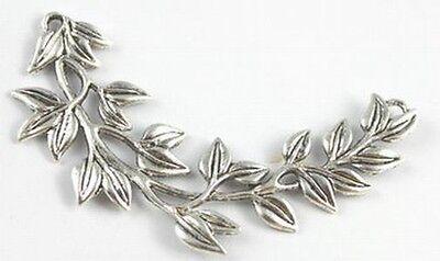 5PCS Tibetann silver willow leaf connector FC15576