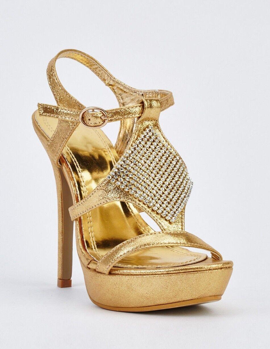 BNWB High Metallic Gold Hi Shine Platform Sexy High BNWB Heel Party Dance Shoes-/EU38 7ccbb3