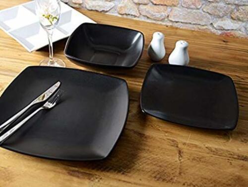 12 Pièces Noir Square Dinner Set céramique Corbeau salle à manger en grès assiettes bols NEUF