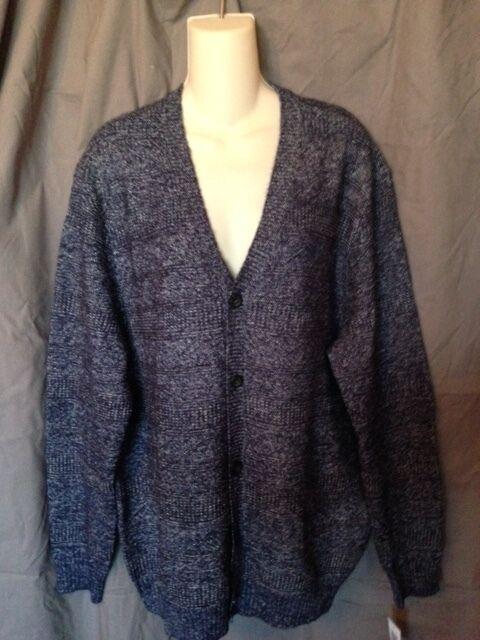 Club Room NEW grau Navy Blau  Herren Größe Large L Ribbed Knit Cardigan Sweater 72