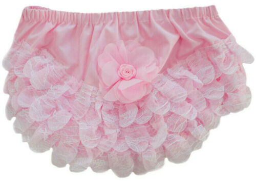 Baby Girls Spanish Romany White Pink Frilly Pants Organza Lace Flower Knickers