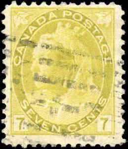 Used-Canada-1902-7c-F-Scott-81-Queen-Victoria-Numeral-Issue-Stamp