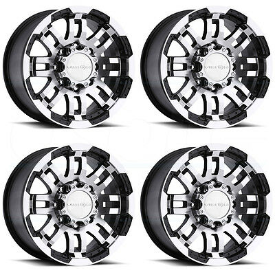 17x8.5 Vision Off Road 375 Warrior 8x165 8x6.5 18 Black Machined Wheel N set(4)