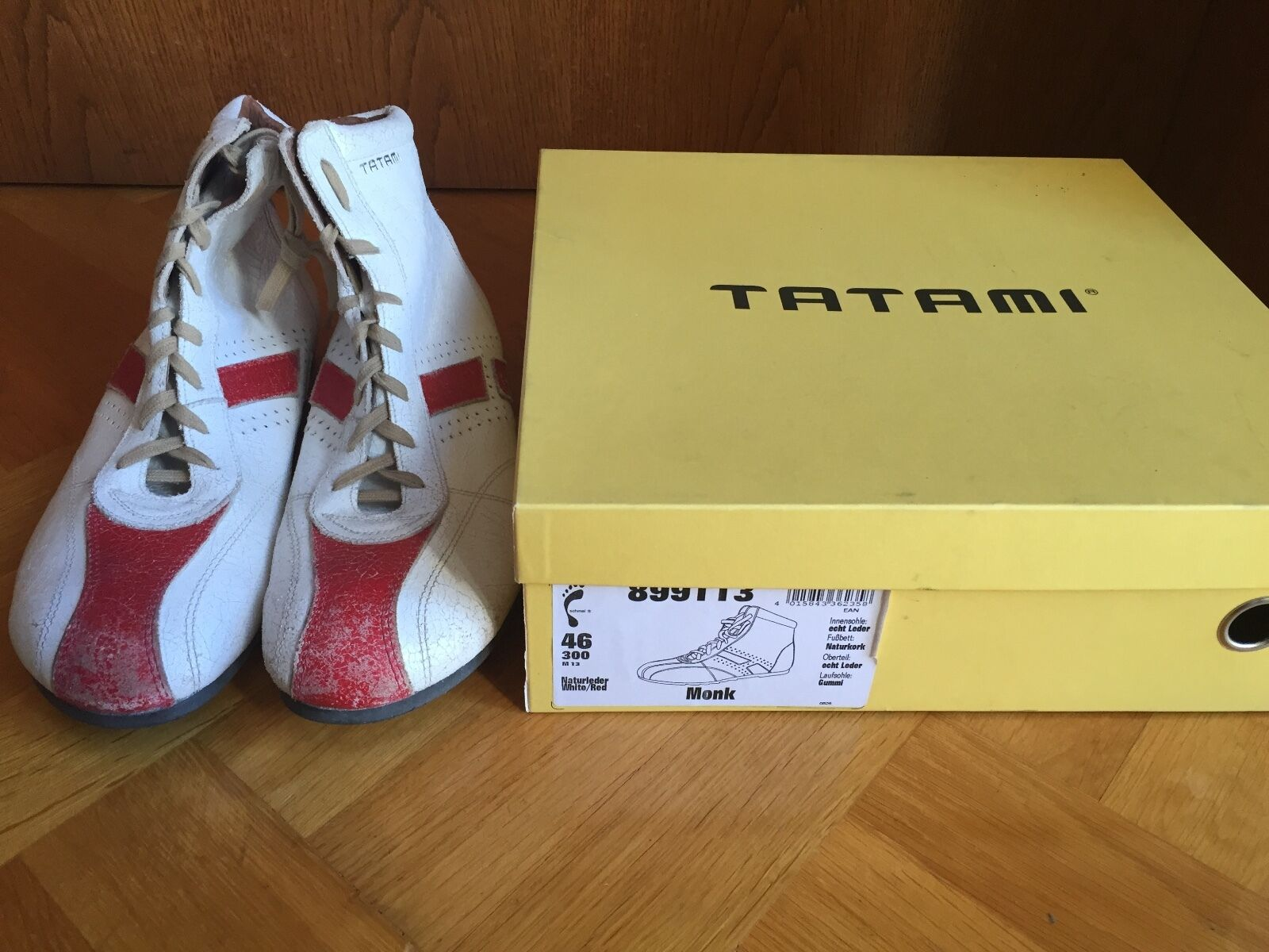 Scarpe casual da uomo  TATAMI SHOES MONK BOXER BOOTS LEATHER WHITE/RED EUR 46 300 US 12.5