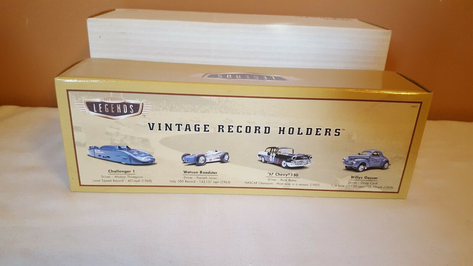 HOT WHEELS LEGENDS VINTAGE RECORD HOLDERS 4 CAR SET WILLYS 57 CHEVY ROADSTER NEW