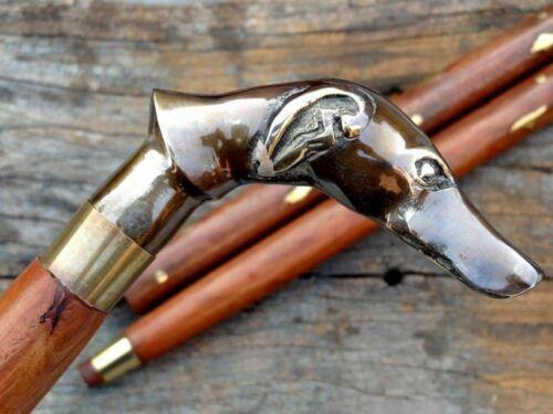 Brass Victorian Dog Head Handle Designer Cane Vintage Wooden Walking Stick Gift