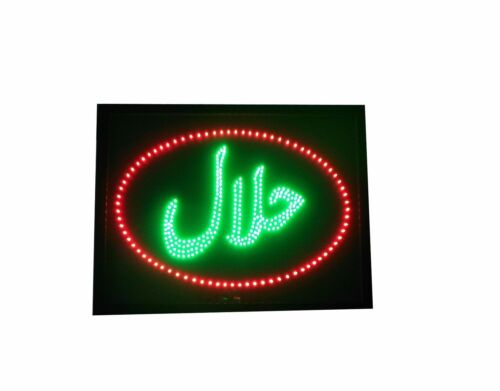 LED HALAL Symbol Food Take Way Shop Sign Neon Display Window Mounted Light Board