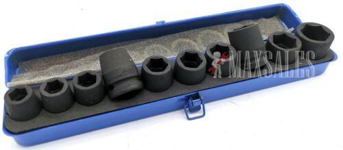 "New 20pc 1//2/"" Drive Air Impact CR-MO Steel Socket  MM /& SAE Set w// Metal Case"