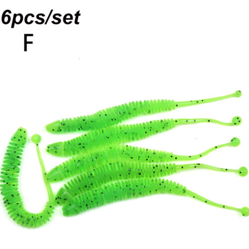 6pcs//set New Artificial  8CM Carp Silicone Soft Bait Worm Fishing Lures Swimbait