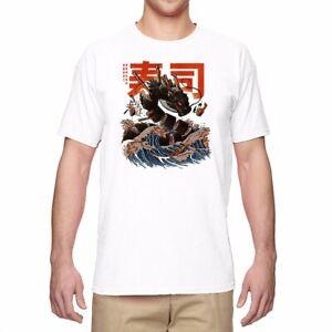 Men T-shirts Funny Graphic Shirt Great Sushi Dragon Short Sleeve Cotton Top Tees