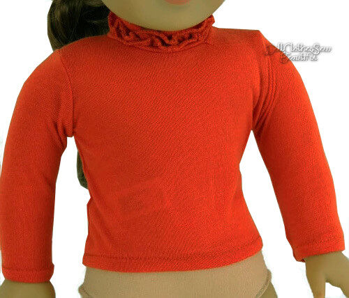"Orange/Rust Long Sleeve T-Shirt Ruffle Neck for 18"" American Gir"