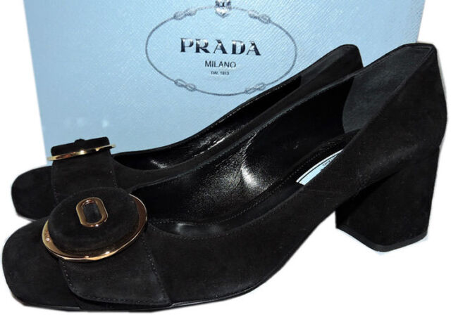 91c08cd79be40 PRADA Black Suede Chunky Low Heel Button Pump Shoe 38.5 | eBay