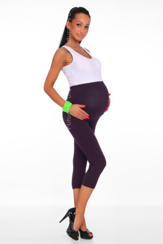 Maternity Leggings Cropped 3//4 Length Cotton Over Bump Size 8-20