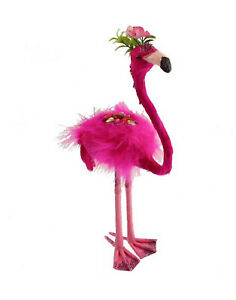 Standing-Pink-Flamingo-Decoration-36cm-Hawaiian-Tropical-Party-Feather-amp-Glitter