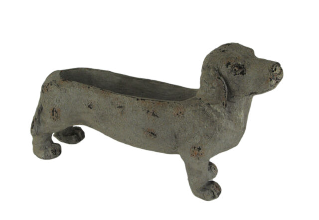 Weathered Grey Stone Finish Dachshund Dog Indoor Outdoor Planter Statue