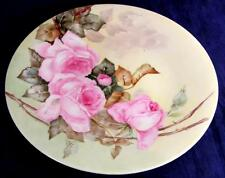 Antique JPL Pouyat Limoges Hand Painted Roses Cabinet Plate