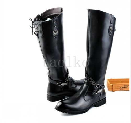 Mens Black Riding Buckles Belt Knee High Combat Boots Leather Dress Shoes New