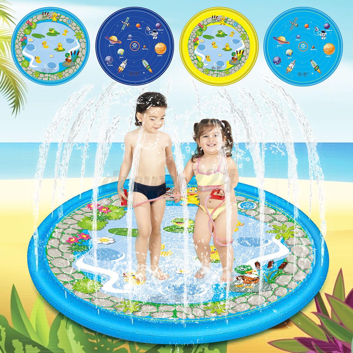 Kids Inflatable Fish Shape Water Splash Play Pool Playing Sprinkler Ma nb