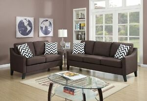 Chevron Patterned New Living Room 2pc Sofa Set Chocolate Sofa & Loveseat Modern