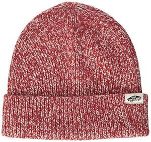 ecb8be7d478 VANS OTW UNISEX (TWILLY) CHILI PEPPER RED KNIT WHITE HAT SKI CAP RED ...