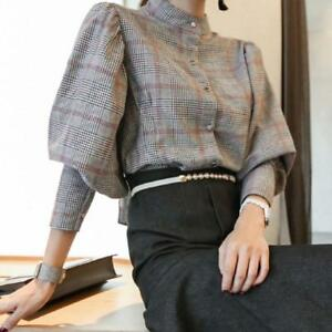 Women-039-s-Puff-Sleeve-Shirts-Classic-Retro-Cotton-Houndstooth-Plaid-Blouse-Tops-Sz